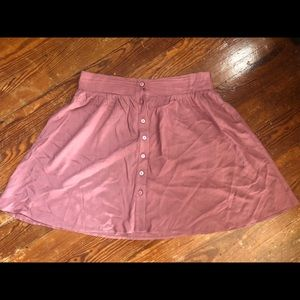 Button up dusty rose mini skirt